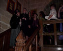 Waiting on the stairs to go into the Josephine Room at Langley Castle